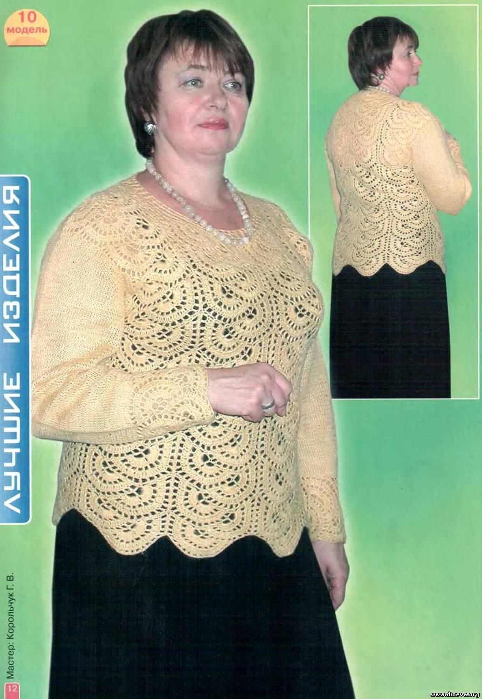 Вязание ажурной кофточки спицами для полных женщин